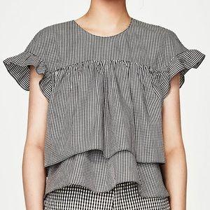 Checkered Babydoll Top Zara